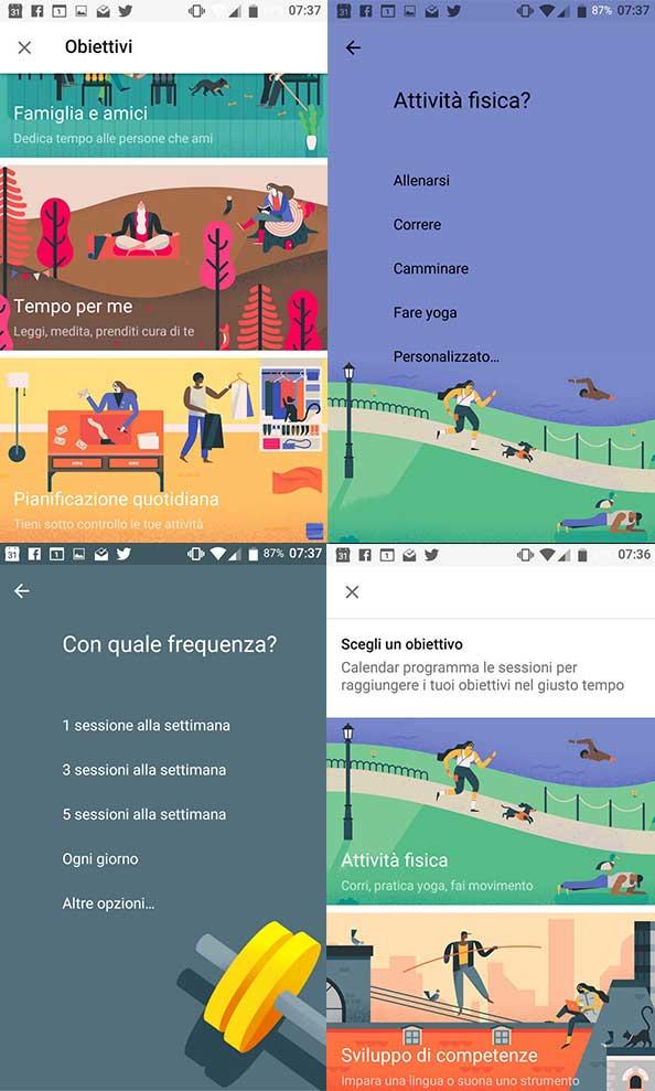 attività fisica google calendar