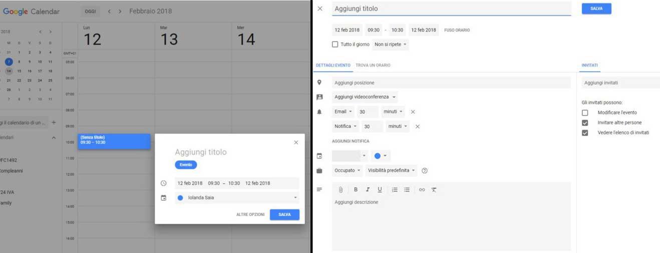 come aggiungere un evento a google calendar