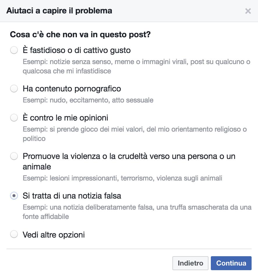 segnala notizia falsa Facebook