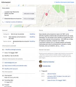 informazioni della pagina business Facebook